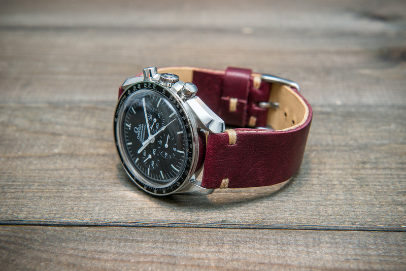 Buttero leather watch strap (burgundy), handmade in Finland, width 10-26 mm. - finwatchstraps