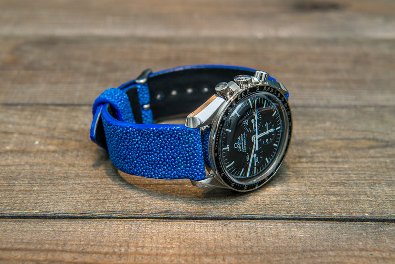 Stingray leather watch strap/ blue
