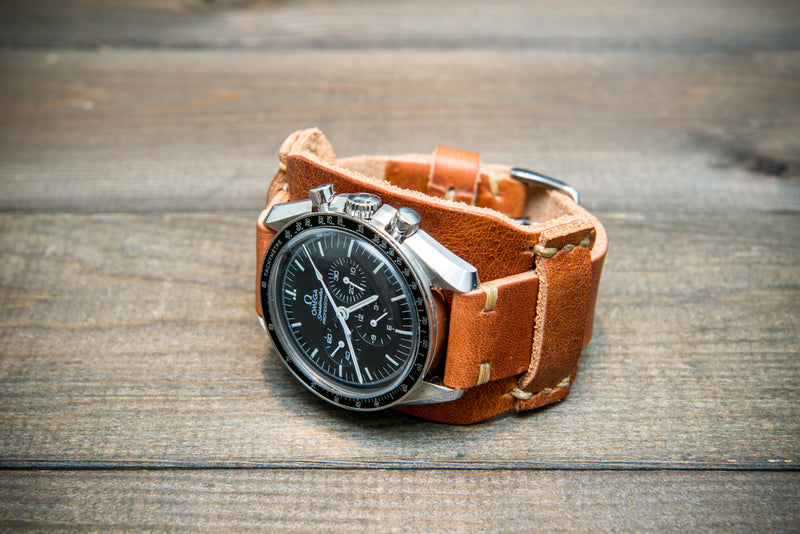 Bund-style Leather Watch Strap, Aviator model, Horween Derby English Tan