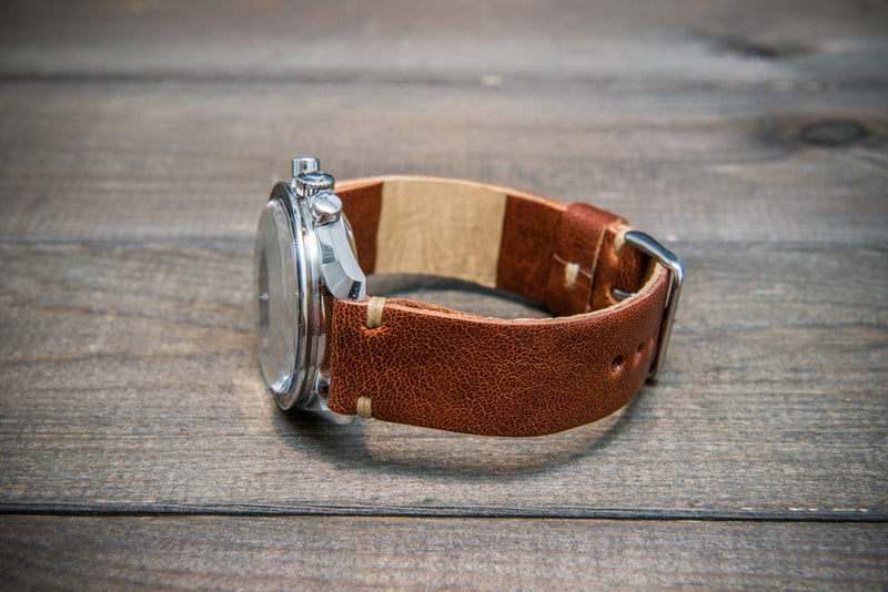 Buttero leather watch strap (cognac), handmade in Finland - 10 mm, 12 mm, 14 mm, 16mm, 17 mm, 18mm, 19 mm, 20mm, 21mm, 22mm, 23 mm,  24mm, 25 mm, 26 mm. - finwatchstraps
