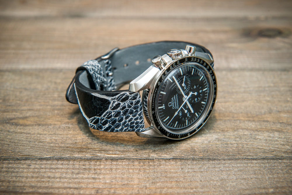 Ostrich legs leather watch straps/  Black& White color/  handmade to order in Finland - finwatchstraps