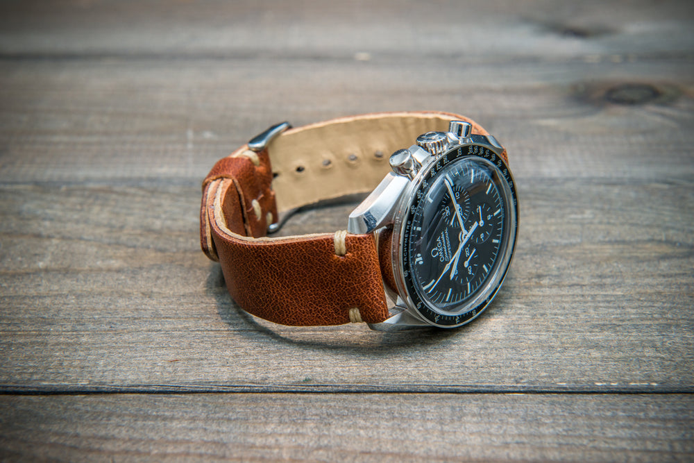 Buttero leather watch strap (cognac), handmade in Finland - 10 mm, 12 mm, 14 mm, 16mm, 17 mm, 18mm, 19 mm, 20mm, 21mm, 22mm, 23 mm,  24mm, 25 mm, 26 mm.