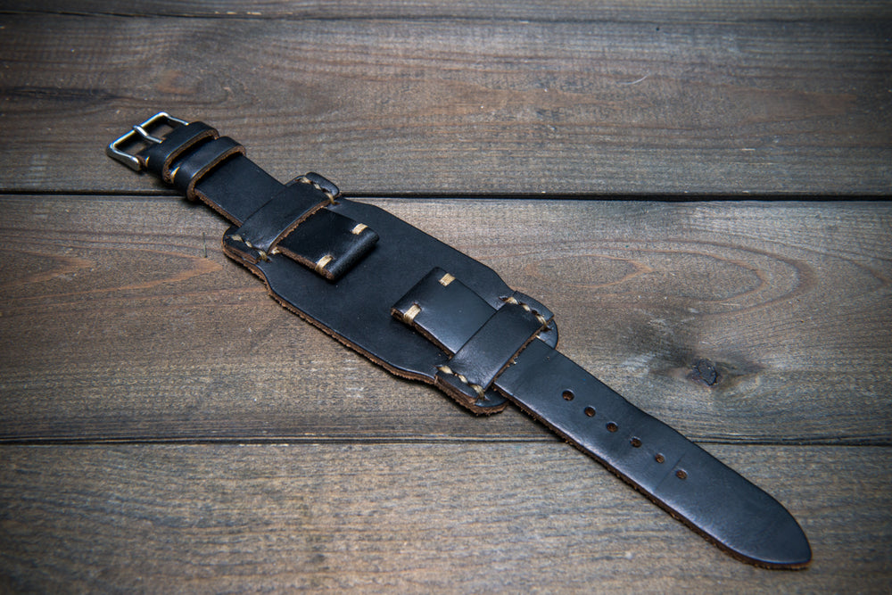 Bund-style Leather Watch Strap, Aviator model, Horween Black Chromexcel - finwatchstraps