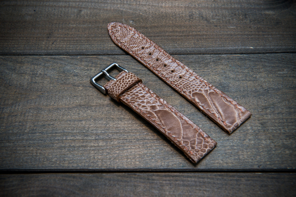 Ostrich legs leather watch straps/  handmade to order in Finland, 10-26 mm - finwatchstraps