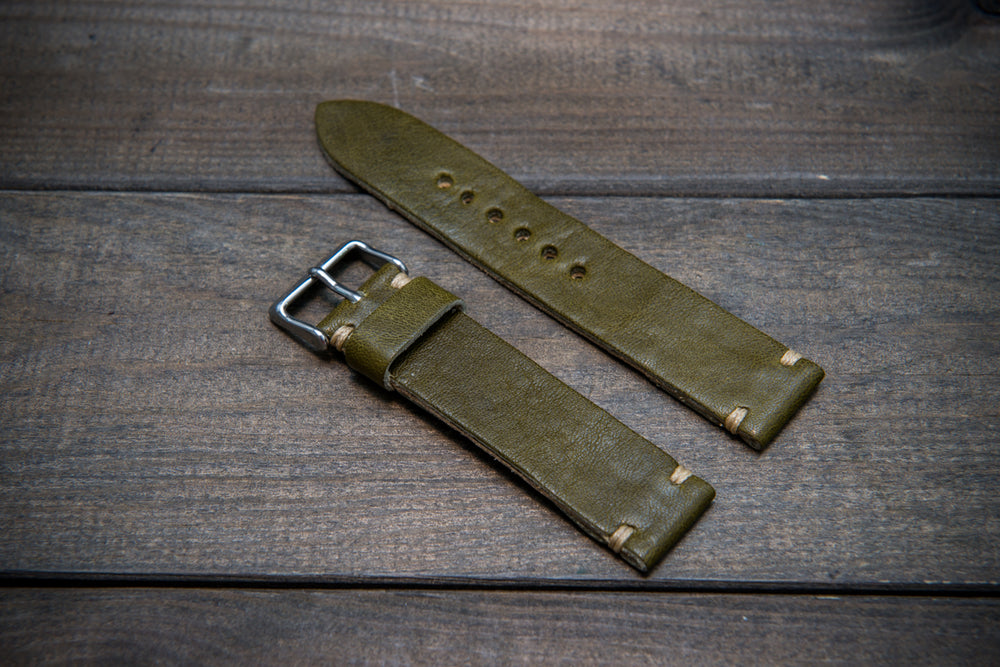 Buttero leather watch strap (olive), handmade in Finland, width 10-26 mm.