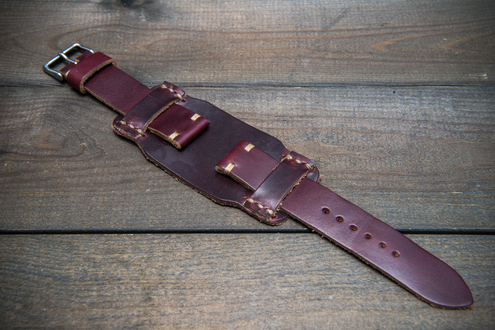 Bund-style Leather Watch Strap, Aviator model, Horween Burgundy Chromexcel - finwatchstraps