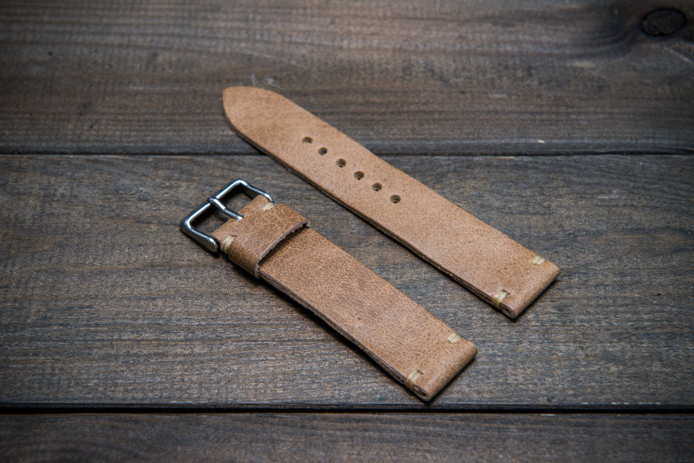 Camel leather watch strap, Antique beige,  handmade in Finland - 10mm, 12 mm, 14 mm, 16mm, 17 mm, 18mm, 19 mm, 20mm, 21mm, 22mm, 23 mm,  24mm, 25 mm, 26 mm.