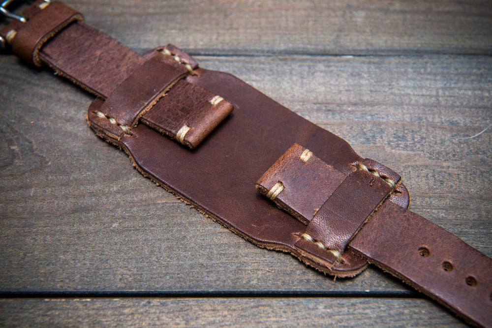Bund-style Leather Watch Strap, Aviator model, Horween Derby Nut Brown - finwatchstraps