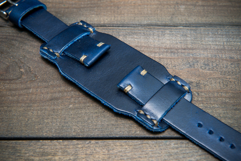 Bund-style Leather Watch Strap, Aviator model, Horween Deep Sea Cavalier - finwatchstraps