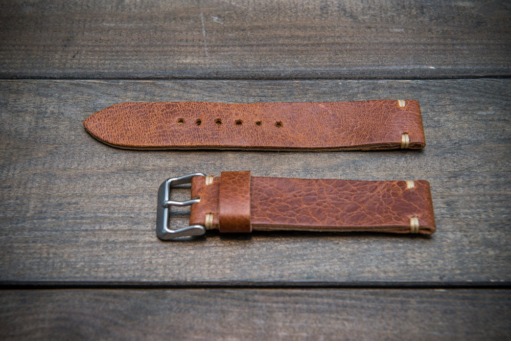 Nordic deer leather watch band, hand-stitched. Handmade in Finland. 10-26 mm.