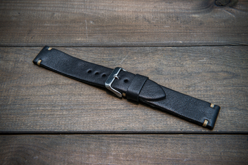 Buttero leather watch strap (black), handmade in Finland: 10-26 mm - finwatchstraps