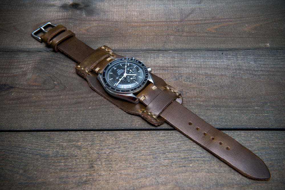 Bund-style Leather Watch Strap, Aviator model, Horween Olive Chromexcel - finwatchstraps