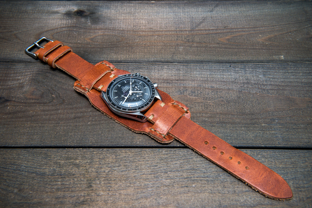 Bund-style Leather Watch Strap, Aviator model, Horween Dublin Cognac