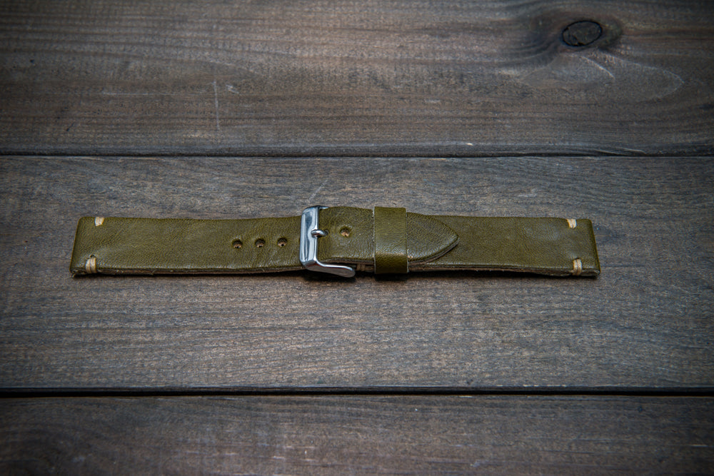 Buttero leather watch strap (olive), handmade in Finland, width 10-26 mm. - finwatchstraps
