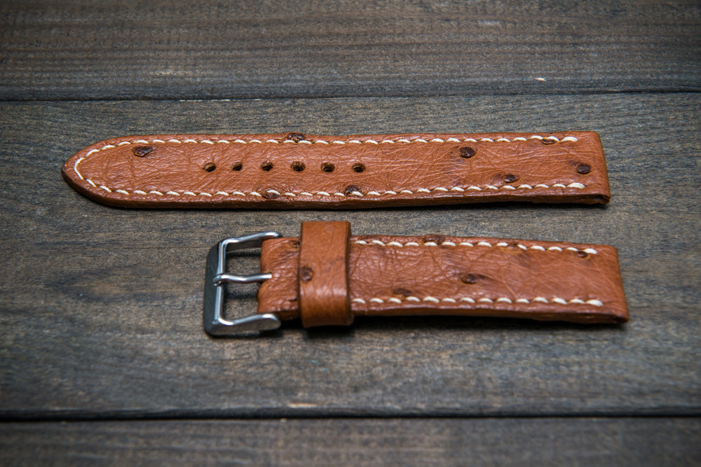 Ostrich leather watch straps/  Cognac color/  handmade to order in Finland - finwatchstraps