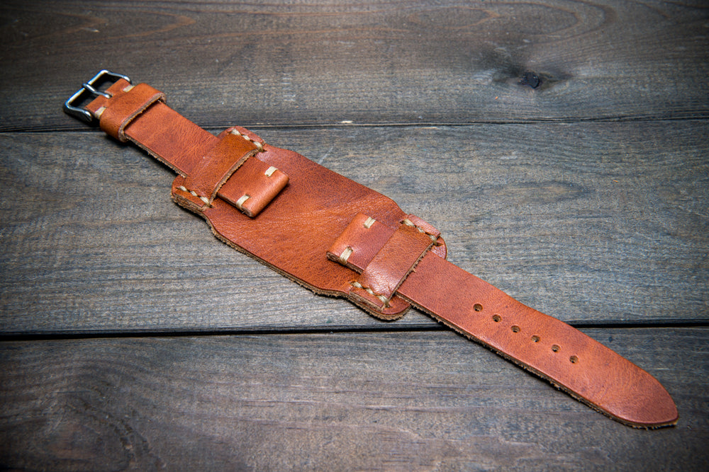 Bund-style Leather Watch Strap, Aviator model, Horween Derby English Tan - finwatchstraps