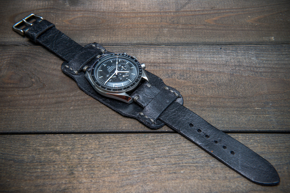 Bund-style Leather Watch Strap, Aviator model, Crazy Cow Winter Smoke - finwatchstraps