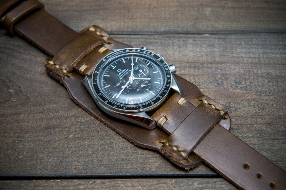 Bund-style Leather Watch Strap, Aviator model, Horween Olive Chromexcel