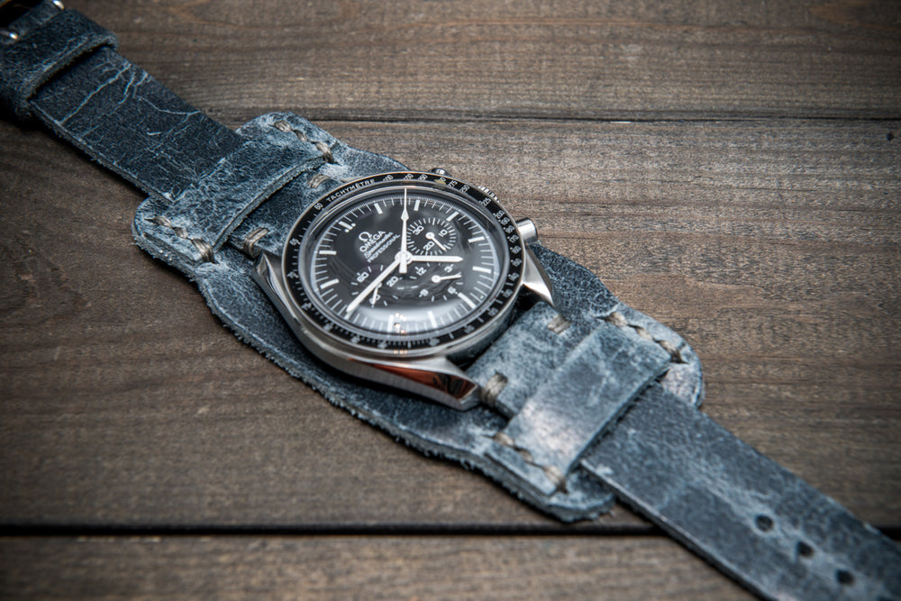 Bund-style Leather Watch Strap, Aviator model, Crazy Cow Basalt - finwatchstraps
