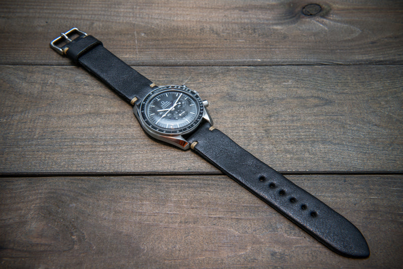 Buttero leather watch strap (black), handmade in Finland - 10 mm, 11 mm, 12 mm, 13 mm, 14 mm, 16mm, 17 mm, 18mm, 19 mm, 20mm, 21mm, 22mm, 23 mm,  24mm, 25 mm, 26 mm.