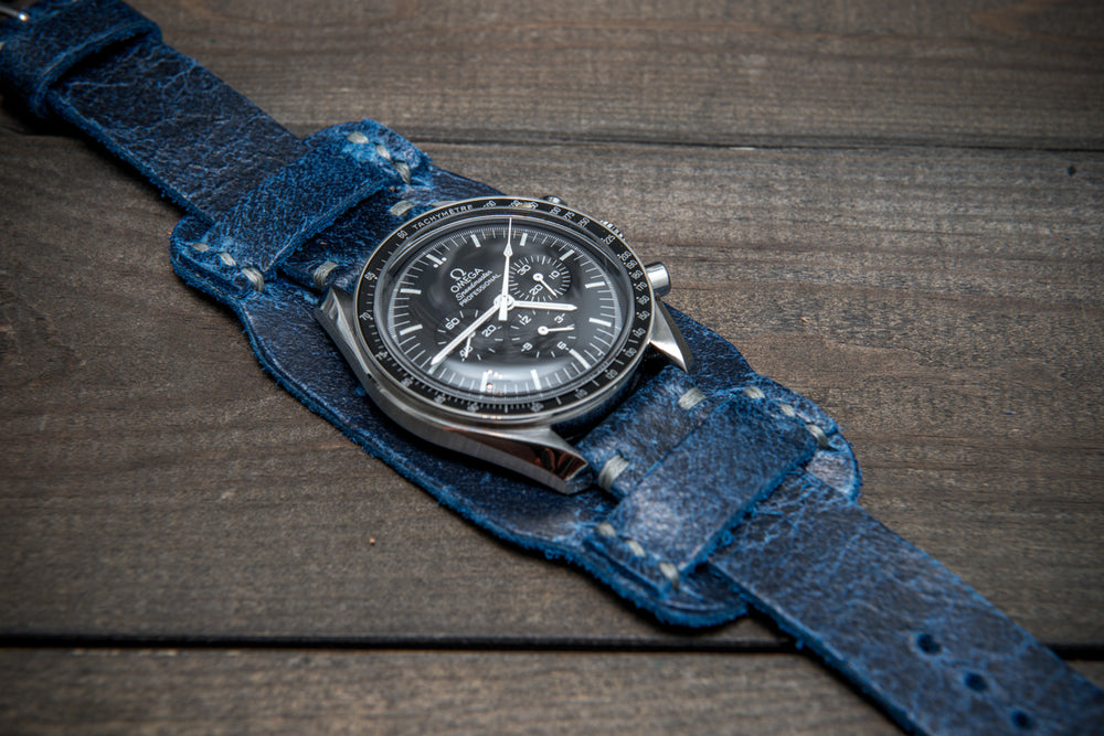 Bund-style Leather Watch Strap, Aviator model, Crazy Cow Deep Sea - finwatchstraps