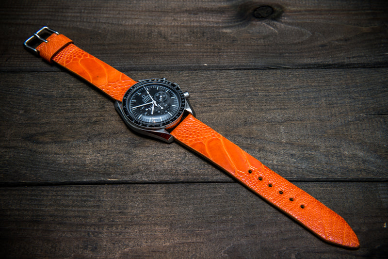 Ostrich legs leather watch straps/  Orange color/  handmade to order in Finland