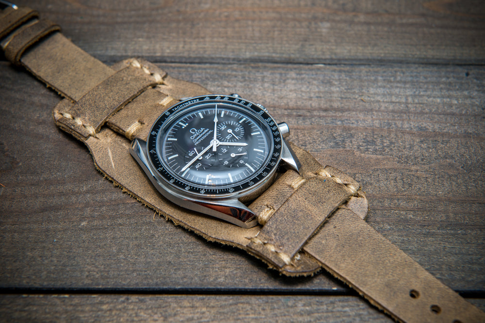 Bund-style Leather Watch Strap, Aviator model, Horween Military Olive - finwatchstraps