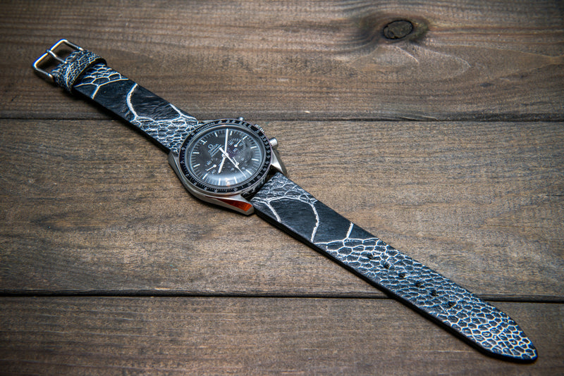 Ostrich legs leather watch straps/  Black& White color/  handmade to order in Finland