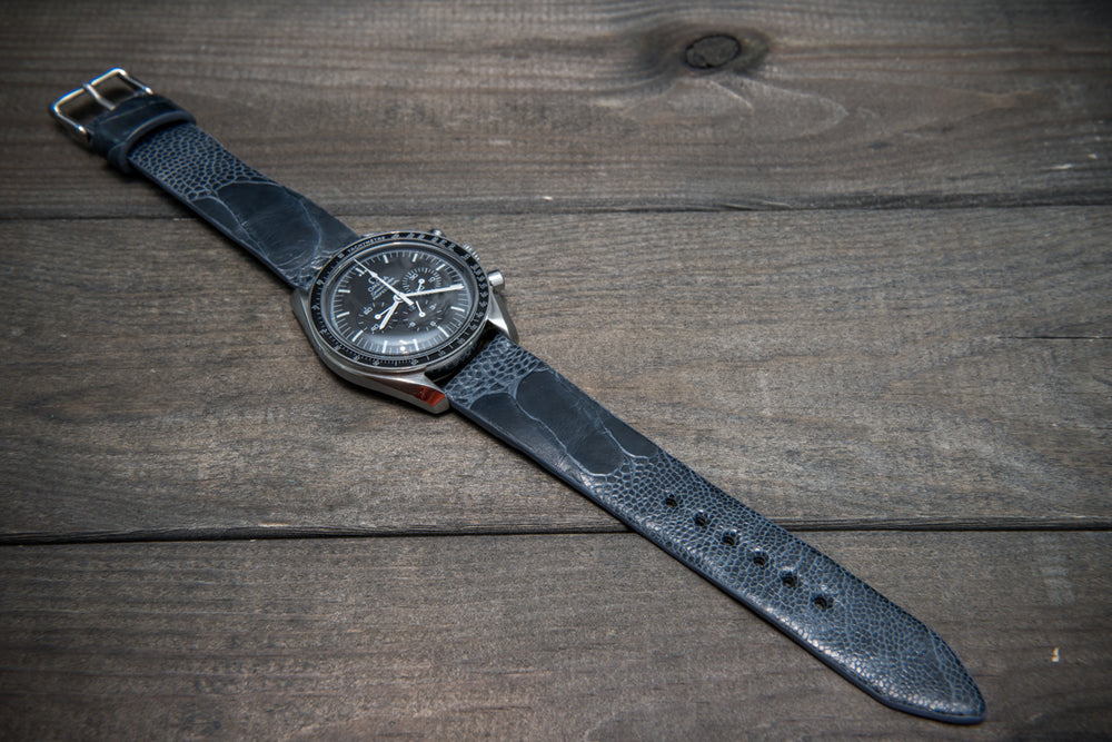 Ostrich legs leather watch straps/  Dark blue-grey handmade to order in Finland - finwatchstraps