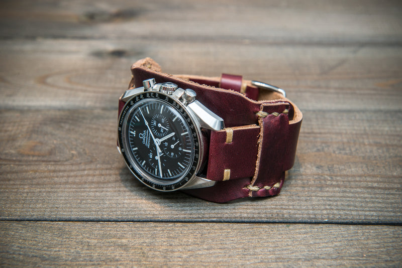 Bund-style Leather Watch Strap, Aviator model, Horween Burgundy Chromexcel