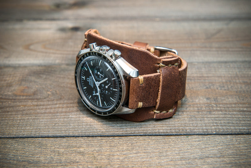 Bund-style Leather Watch Strap, Aviator model, Horween Derby Nut Brown