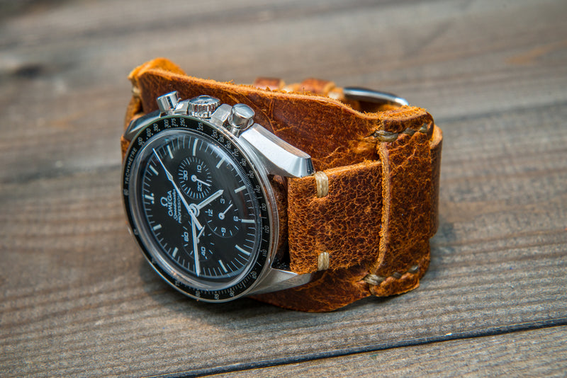 Bund-style Leather Watch Strap, Aviator model, Crazy Cow Cognac - finwatchstraps