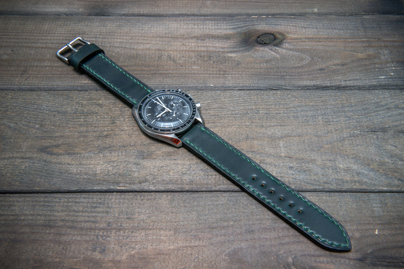 Shell Cordovan leather watch strap , Dark Green. Handmade in Finland - 10 mm, 12 mm, 14 mm, 16mm, 17 mm, 18mm, 19 mm, 20mm, 21 mm, 22mm, 23 mm, 24mm, 25 mm, 26 mm. - finwatchstraps
