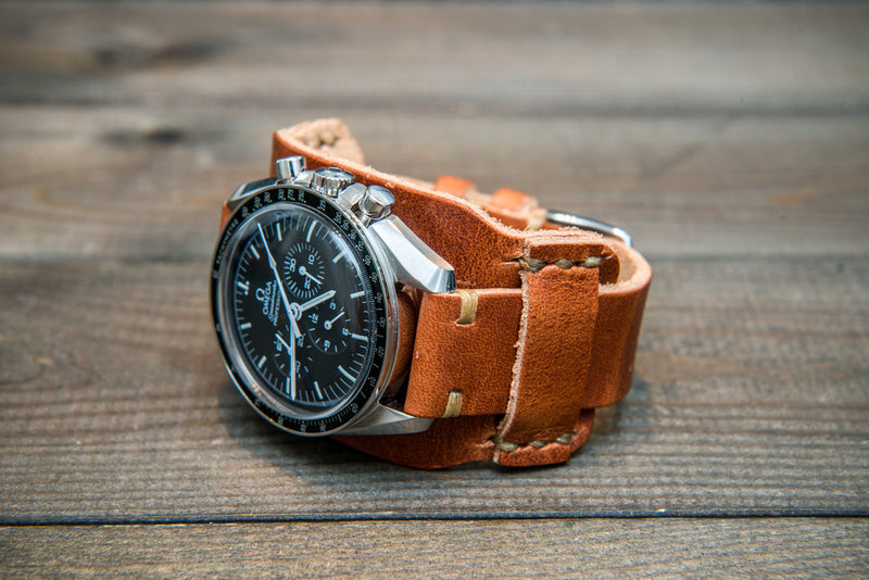 Bund-style Leather Watch Strap, Aviator model, Horween Dublin Cognac - finwatchstraps