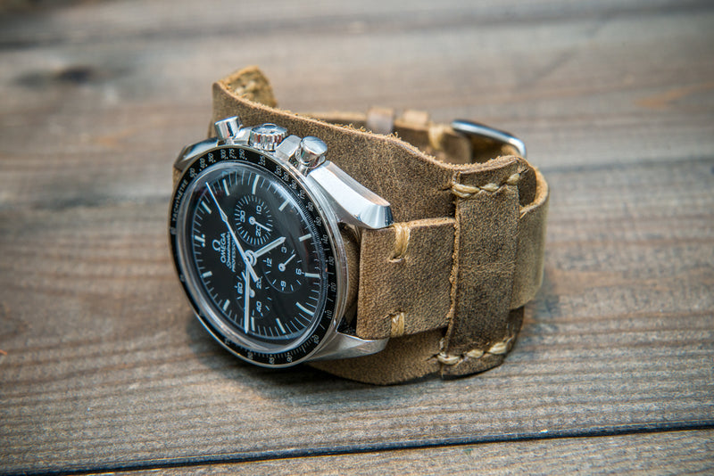 Bund-style Leather Watch Strap, Aviator model, Horween Military Olive