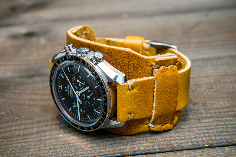 Bund-style Leather Watch Strap, Aviator model, Horween Sun Gold Cavalier - finwatchstraps
