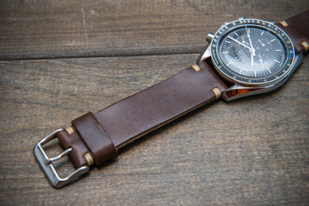 Buttero leather watch strap (chocco brown), handmade in Finland, 10-26 mm - finwatchstraps