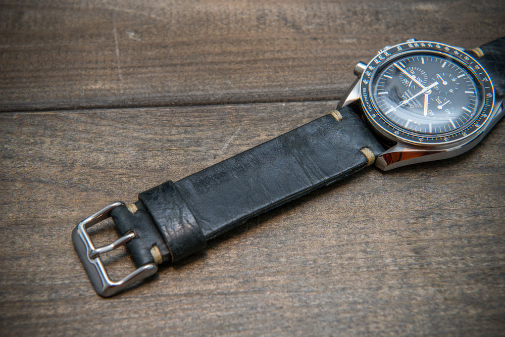 Nordic deer leather watch band, hand-stitched. Handmade in Finland. 10-26 mm. - finwatchstraps