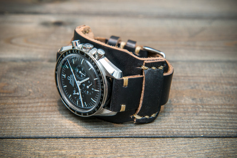 Bund-style Leather Watch Strap, Aviator model, Horween Black Chromexcel