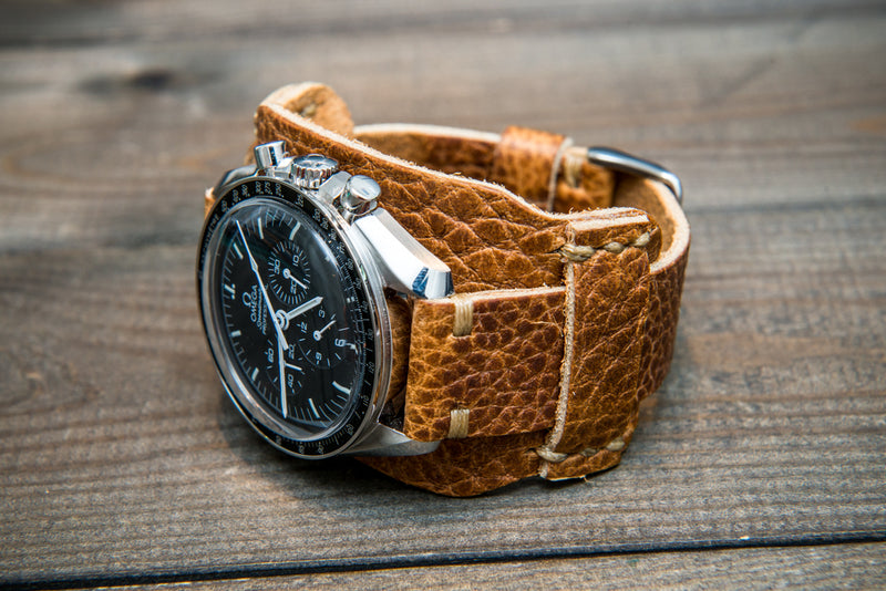 Bund-style Leather Watch Strap, Aviator model, Horween Buckaro Tan