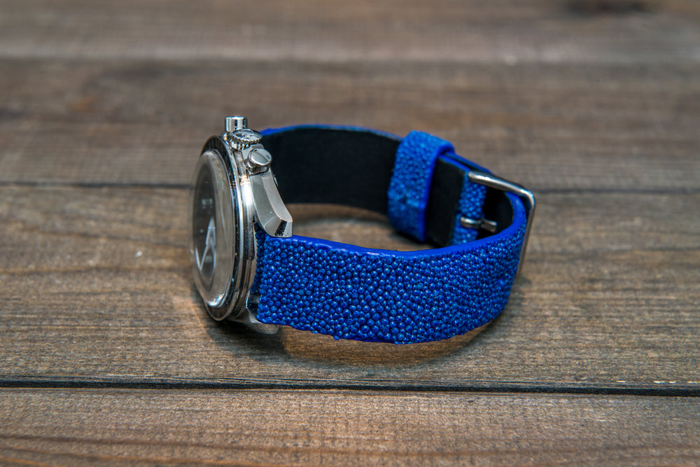 Stingray leather watch strap/ blue - finwatchstraps