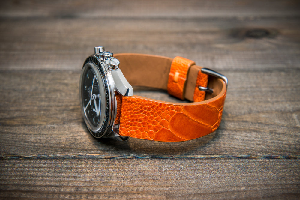 Ostrich legs leather watch straps/  Orange color/  handmade to order in Finland - finwatchstraps