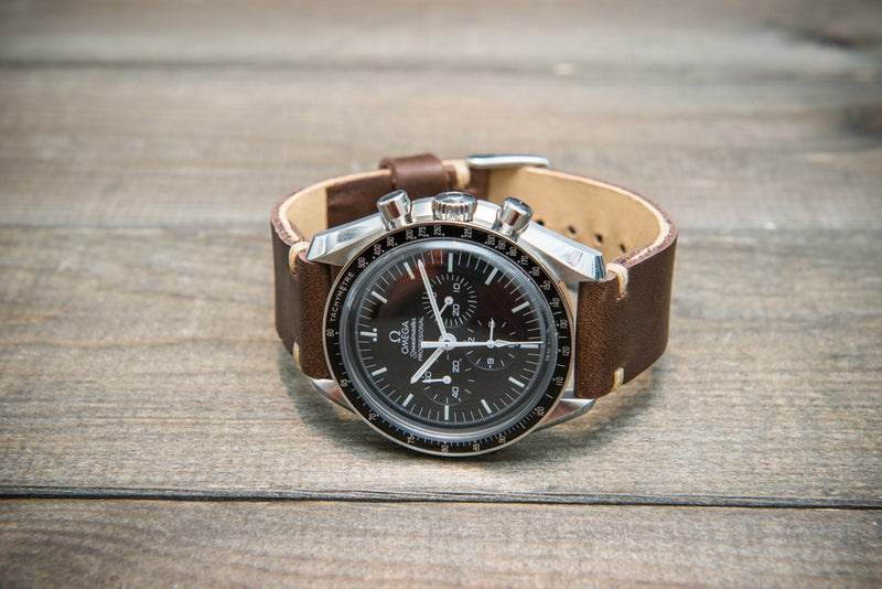Buttero leather watch strap (chocco brown), handmade in Finland, 10-26 mm