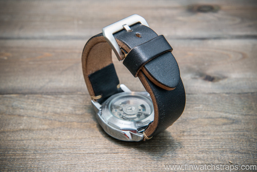 Bridle backs bull leather watch strap 5-6 mm thick, black, handmade in Finland -  16-26mm
