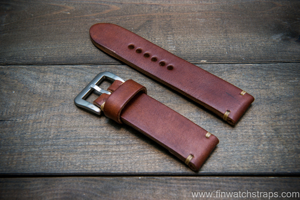 Bridle backs bull leather watch strap 5-6 mm thick, dark stain, handmade in Finland -  16-26mm - finwatchstraps