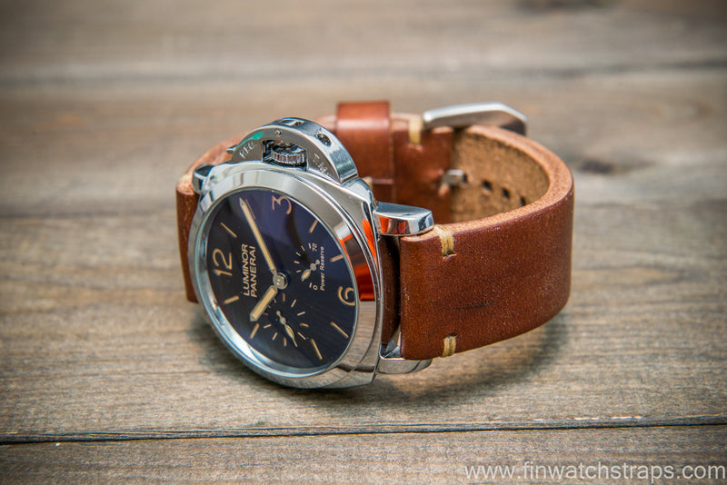 Bridle backs bull leather watch strap 5-6 mm thick, dark stain, handmade in Finland -  16-26mm
