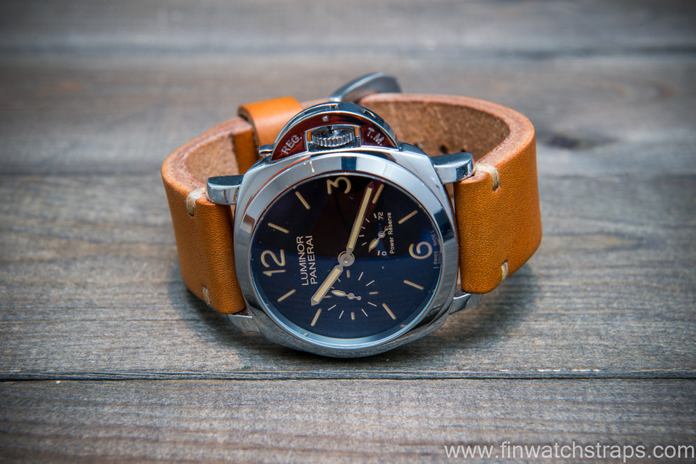 Bridle backs bull leather watch strap 5-6 mm thick, London colour, handmade in Finland -  16-26mm - finwatchstraps