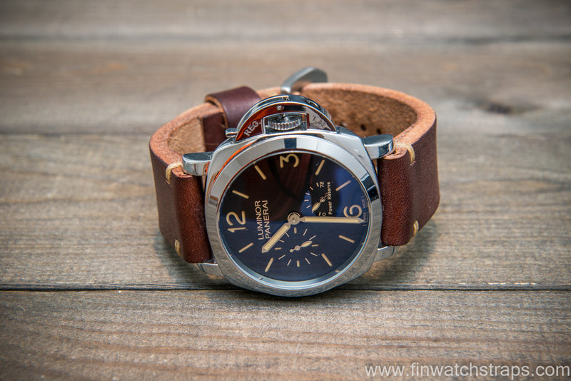 Bridle backs bull leather watch strap 5-6 mm thick, Dark Havana, handmade in Finland -  16-26mm - finwatchstraps