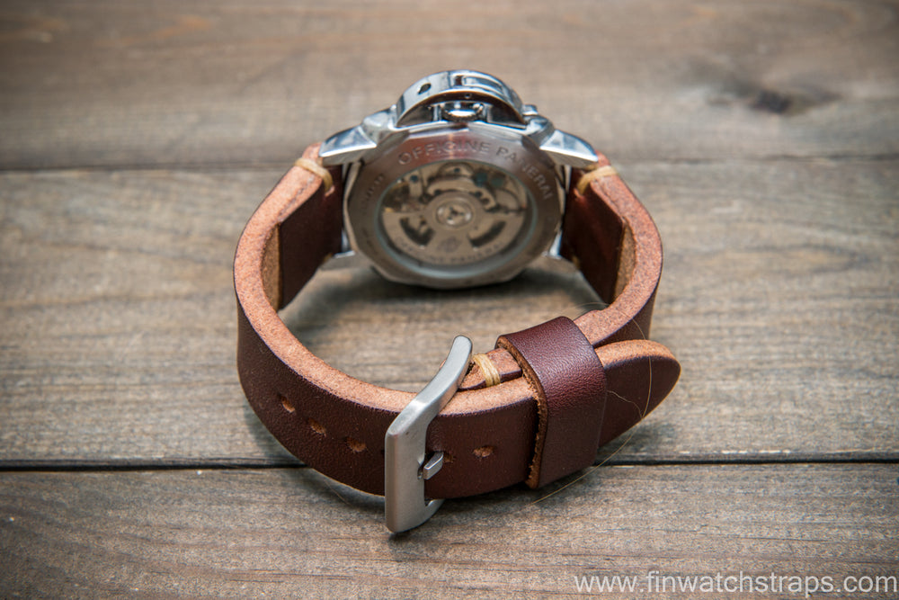 Bridle backs bull leather watch strap 5-6 mm thick, Dark Havana, handmade in Finland -  16-26mm