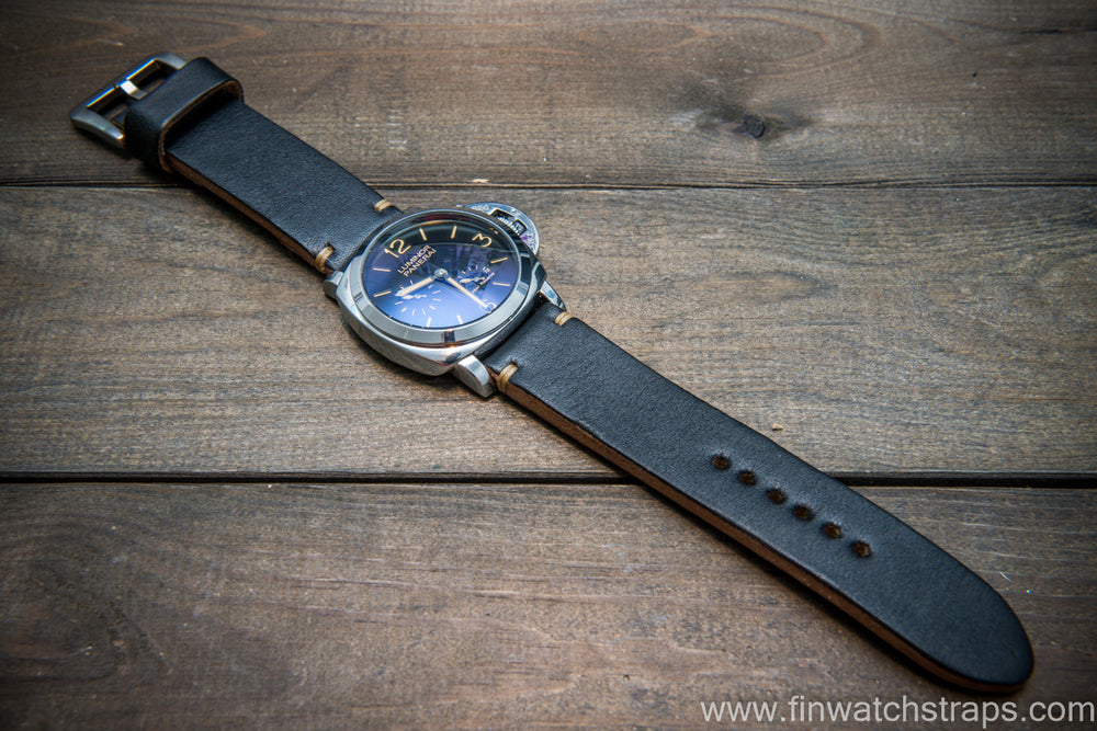 Bridle backs bull leather watch strap 5-6 mm thick, black, handmade in Finland -  16-26mm - finwatchstraps
